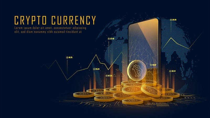 Bitcoin cryptocurrency with a pile of coins come out from smartphone, Vector illustrator